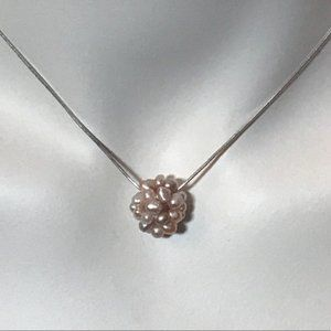 PINK PEARL Cluster Pendent Sterling Chain Necklace